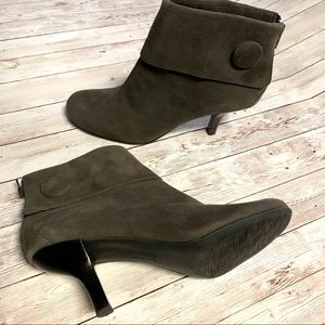 Franco Sarto Olive Green Kitten Heel Ankle Booties
